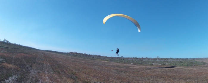 Paragliding on the flat land